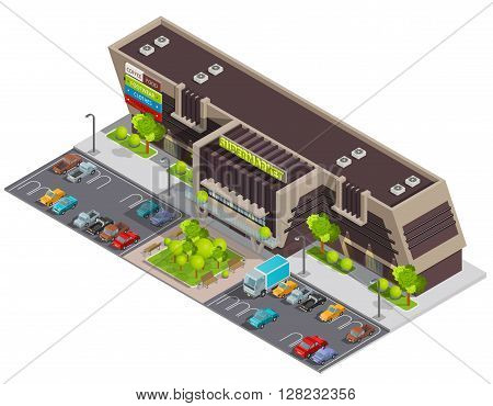 Shopping mall center in business district for wealthy customers with parking lot isometric composition abstract vector illustration