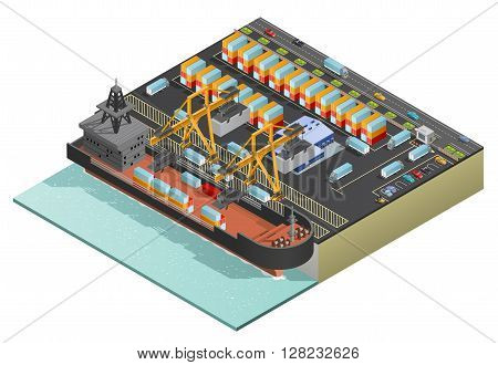 Heavy dry-cargo ship loading with containers by two stationary cranes in port isometric vector illustration