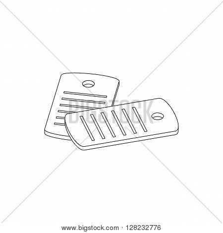 Identification army badge icon in isometric 3d style on a white background. Dog tag