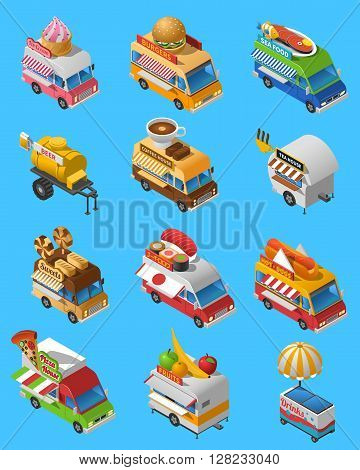 Street food trucks and carts selling sushi hot dogs and drinks isometric icons set abstract isolated vector illustration