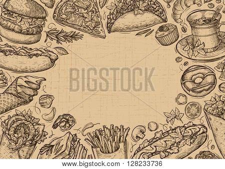 Vector vintage fast food. Template design menu restaurant or cafe
