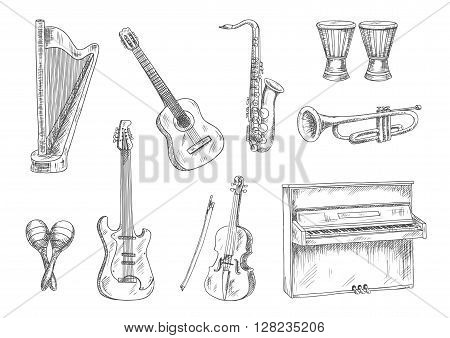 Classic acoustic and electric guitars, saxophone, violin, trumpet, upright piano, conga drums and harp sketches. Vintage engraving musical instruments icons for art, music, entertainment and education theme design usage