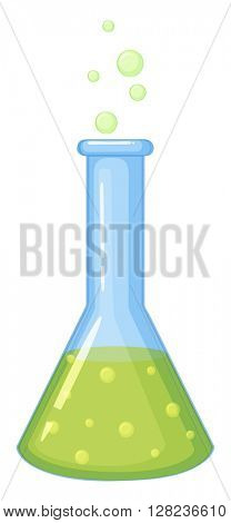 Chemical in glass beaker illustration