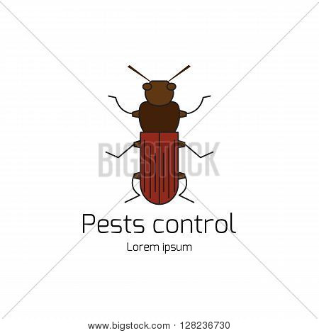 Pests control. Domestic insect pests. Thin line symbols of bug. Geometrical design element isolated on white background. Logotype by bug