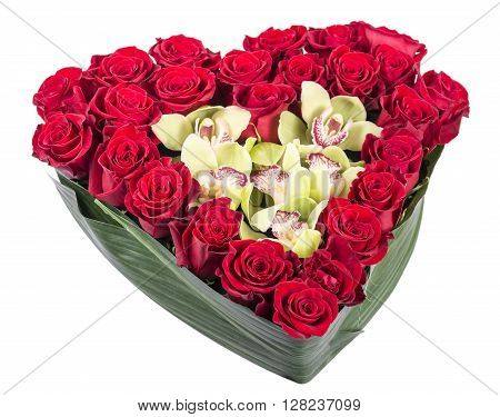 heart of roses and orchids Cymbidium on a white background