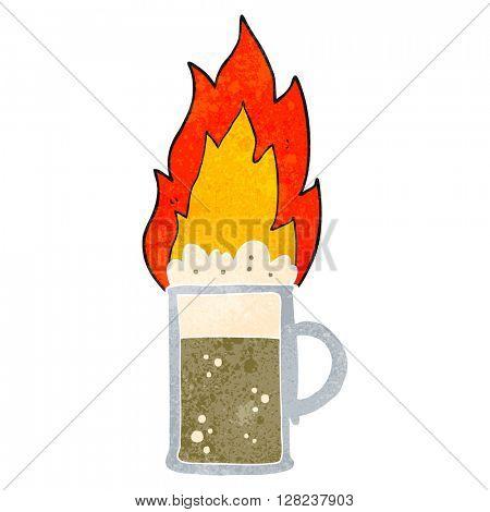 freehand retro cartoon flaming tankard of beer