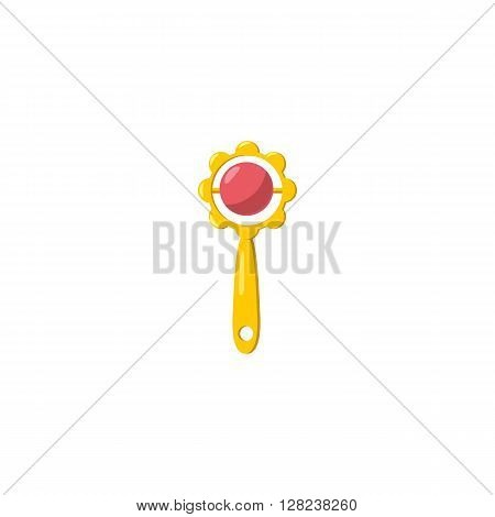 Baby rattle beanbag icon in cartoon style on a white background