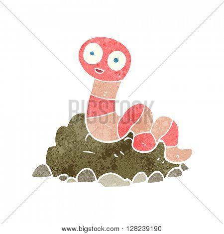 freehand retro cartoon earthworm