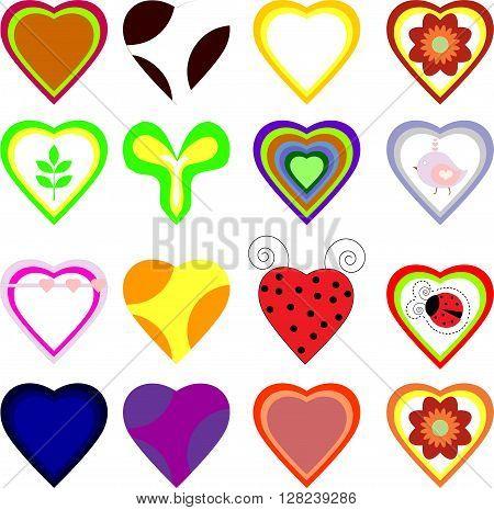 Set of vector hearts cute color art