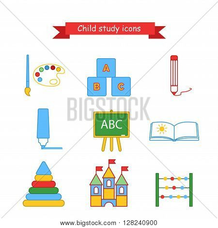 Set of vector icons kids education. Collection of icons for lesson brush, paint, pencil, pen, blackboard, album, pyramid, cubes and scores. Outline vector illustration in a flat style