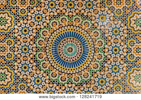 TELOUET, MOROCCO - OCTOBER 22, 2015: Beautiful and intricate mosaic work in the Kasbah of Glaoui in Telouet Morocco.