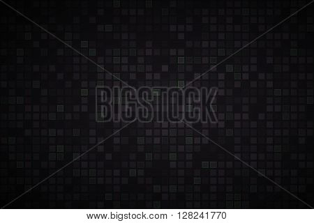Black abstract vector background with black and green squares