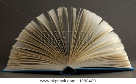 Opened Book On Black Background