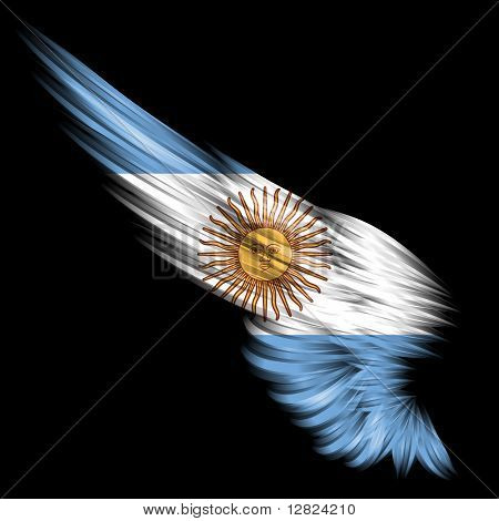 Abstract Wing With Argentina Flag On Black Background