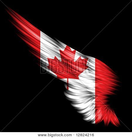 Abstract Wing With Canada Flag On Black Background