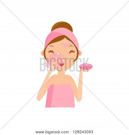 Girl Washing Face With Soap Portrait Flat Cartoon Simple Illustration In Sweet Gitly Style Isolated On White Background