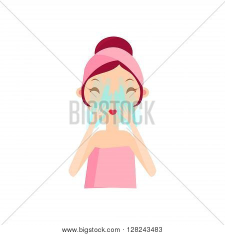Girl Rinsing Her Face Portrait Flat Cartoon Simple Illustration In Sweet Gitly Style Isolated On White Background