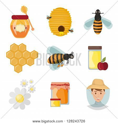 Icons apiaries and bee vector. Bee flying in beehive, jar honey and honeycomb, beekeeper apiary. Apiary set art. Apiary set honey beekeeping honeycomb beeswax apiary bee, honey jar, little bee.
