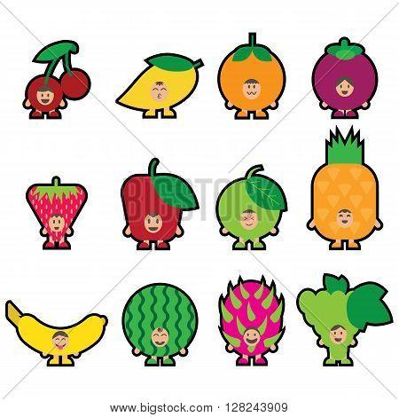Cartoon Fruits. Fruits Mascot.