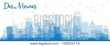 Outline Des Moines Skyline with Blue Buildings. Business travel and tourism concept with modern buildings. Image for presentation, banner, placard and web site.