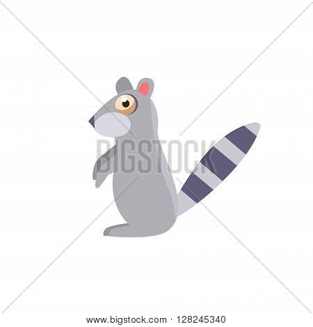 Toy Raccoon Simplified Cute Illustration In Childish Flat Vector Design Isolated On White Background