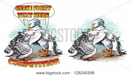 Cartoon vector illustration of fighting geese competition.
