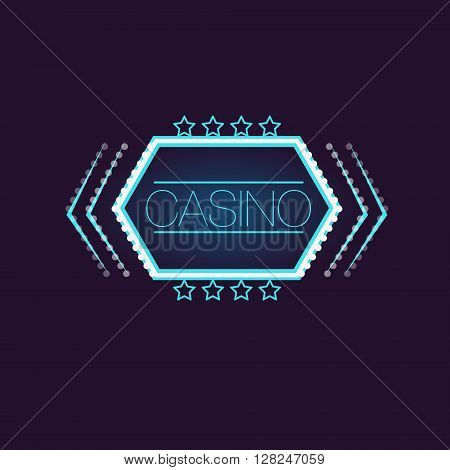 Hexahedron Casino Neon Sign Las Vegas Style Illumination Bright Color Vector Design Sticker