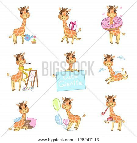 Cute Giraffe Cartoon Set Of Outlined Illustrations In Cute Girly Cartoon Style Isolated On White Background