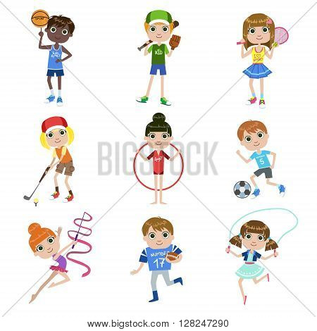 Kids Doing Sports Set Of Simple Design Illustrations In Cute Fun Cartoon Style Isolated On White Background