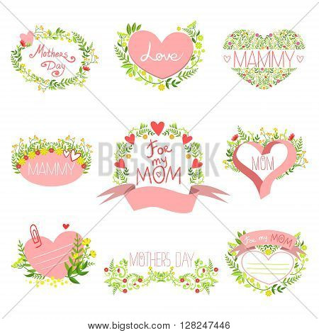 Mothers And St Valentine Day Greeting Cards Set Of Hand Drawn Detailed Floral Frames Templates In Vector Design