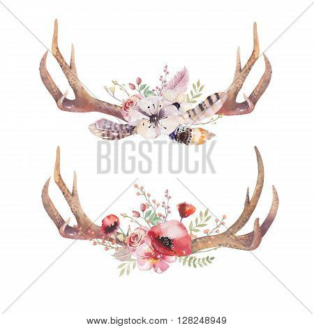Watercolor bohemian deer horns. Western mammals. Watercolour hipster boho decoration print antlers. flowers feathers. Isolated white background. Boho antler. Hand drawn ethnic wreath design.