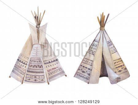 Watercolor teepee arrows fearhers and tomahawk. Boho america indians tribal style travel tent decoration. Tipi isolated illustration on white backgraund. children design. indian nebraska dakota.