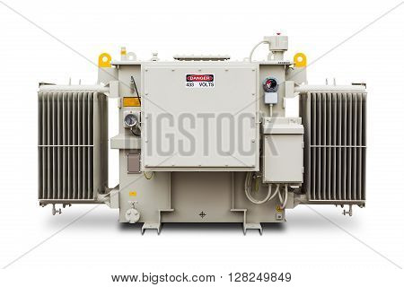 Three phase (1500 kVA) radiator fin hermetic sealed type with nitrogen gas cushion oil immersed transformer isolated on white background with clipping path