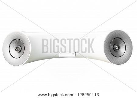 White design mobile phone speaker isolated on white background