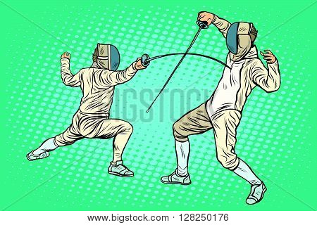 The sports fencing on swords pop art retro style. Sports games. athletics. Summer games. Duel sports. Electric sword rapier