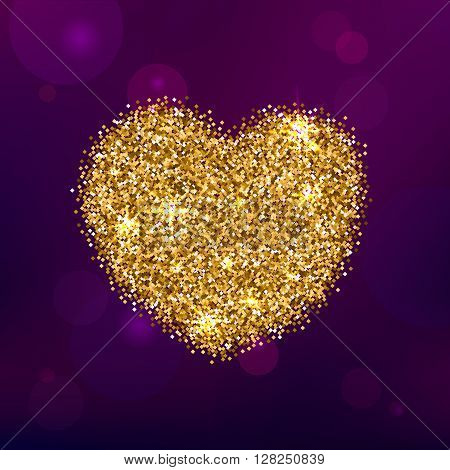 Sparkling Heart Shape on a Violet Abstract Background. Gold Glitter Design for Greeting Cards, Posters, Templates.