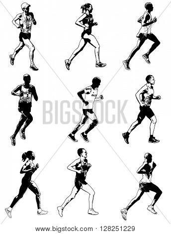 marathon runners illustration - vector