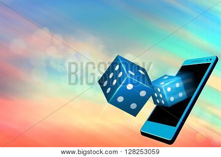 Mobile casino or casino dice flying out from a mobile