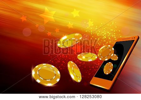Mobile casino or casino coins flying out from a mobile