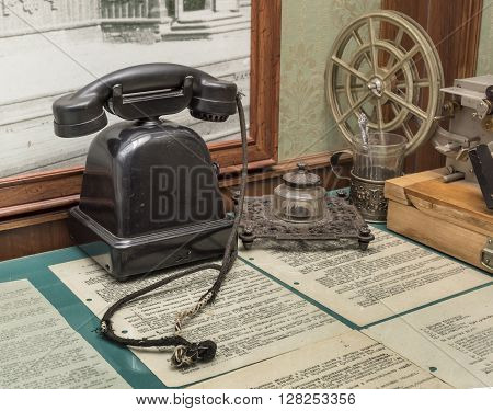 ROSTOV-ON-DON; RUSSIA- APRIL 28 - Workplace of telegraph operator in the exhibition center