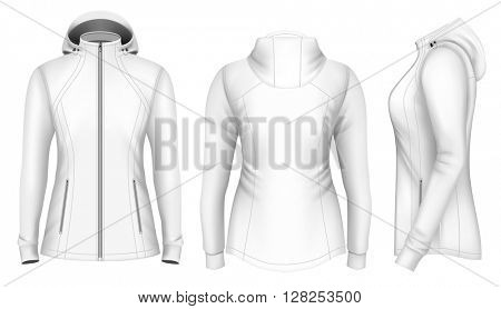 Softshell hooded jacket for lady. Fully editable handmade mesh. Vector illustration.