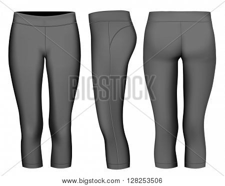 Women's 3/4 long black tights.  Fully editable handmade mesh. Vector illustration.