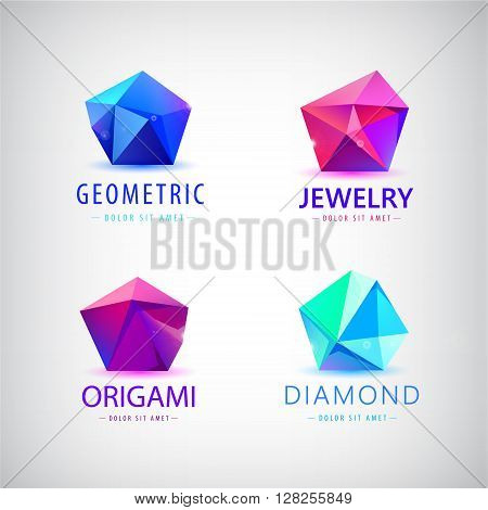 trendy flat design facet crystal gem shape logo element. 3d shiny jewelry modern logo