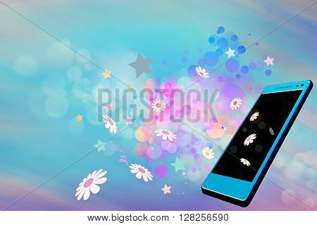 Spring or summer celebration on mobile with flowers floating