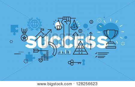 Modern thin line design concept for SUCCESS website banner. Vector illustration concept for business success, sports achievements, successes in science, successes in various competitions, financial results, consulting.