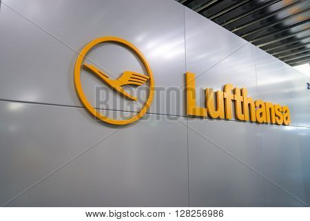 FRANKFURT, GERMANY - APRIL 07, 2016: close up shot of Lufthansa logo. Deutsche Lufthansa AG, commonly known as Lufthansa is a major German airline.