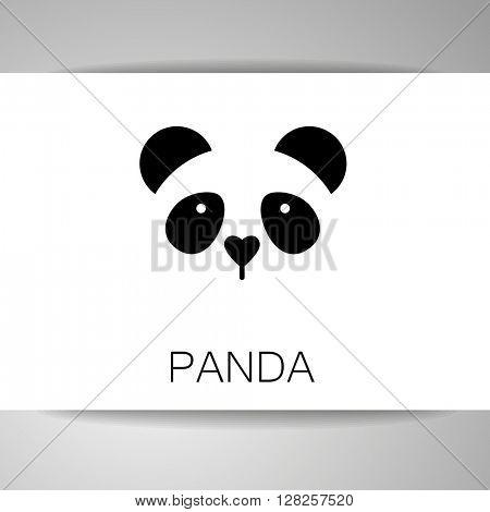 Panda logo. Isolated panda head on white background.  Identity card template. Panda head silhouette. Vector illustration.