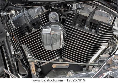Detail Of Air Cooled Twin Engine Of Motorcycle.