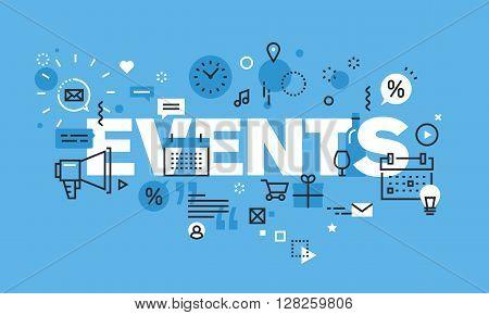 Modern thin line design concept for EVENTS website banner. Vector illustration concept for information about news, promotions, celebrations.
