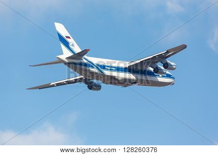 Moscow Russia - October 31 2015: Soviet cargo plane Antonov An-124 Ruslan company Volga-Dnepr RF-82042 takes off in the Moscow Vnukovo Airport. October 31 2015 in Moscow